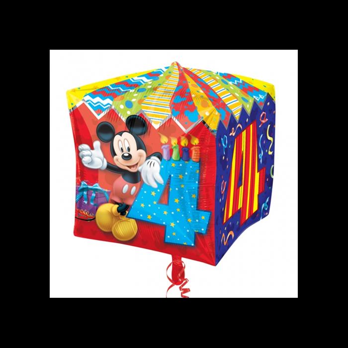 Cubez - Mickey 4th Birthday fólia lufi, 38 cm