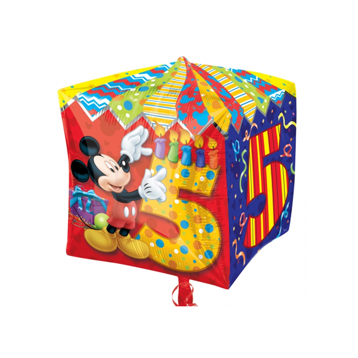 Cubez - Mickey 5th Birthday fólia lufi, 38 cm