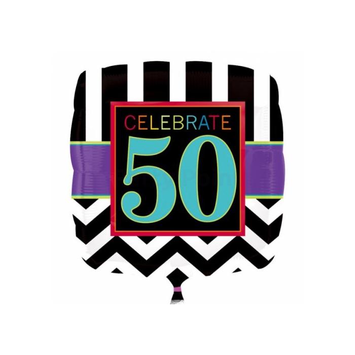 45 cm-es 50. születésnapra fólia lufi