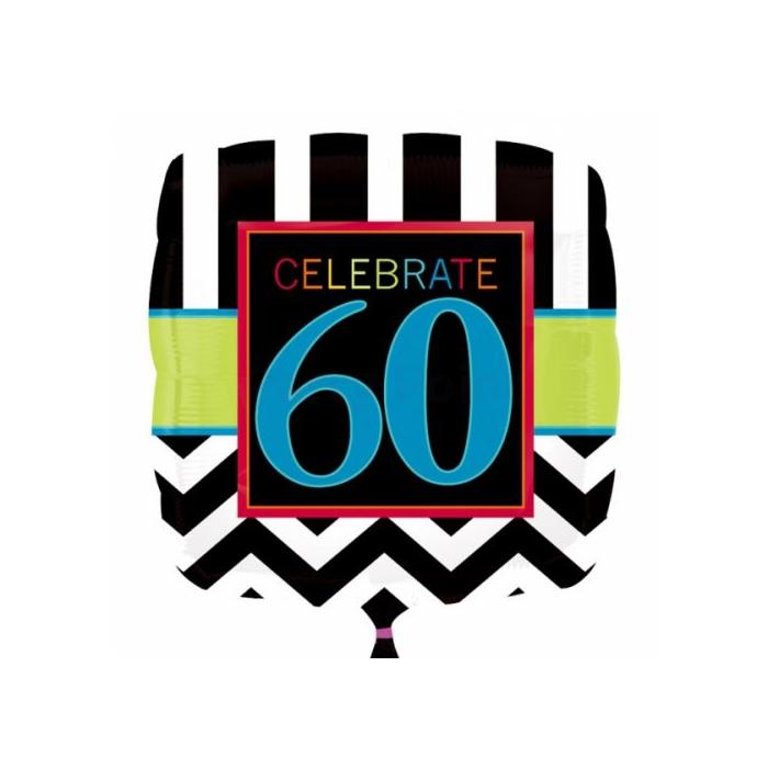 45 cm-es 60. születésnapra fólia lufi