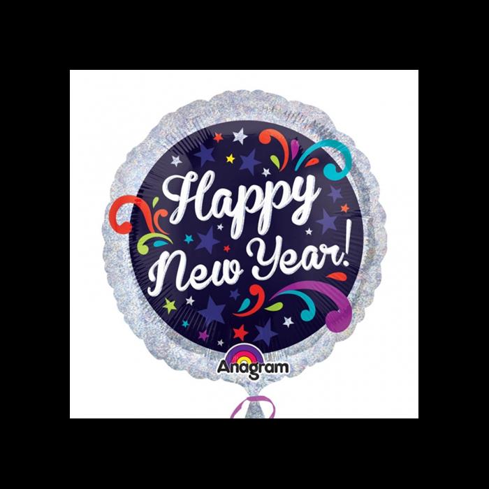 45 cm-es Happy New Year hologrammos fólia lufi