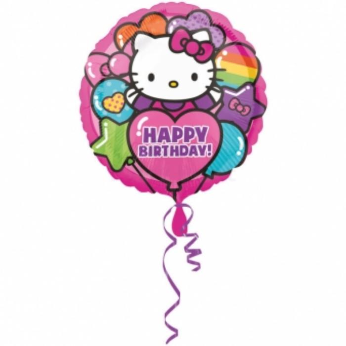 45 cm-es Hello Kitty Happy Birthday fólia lufi