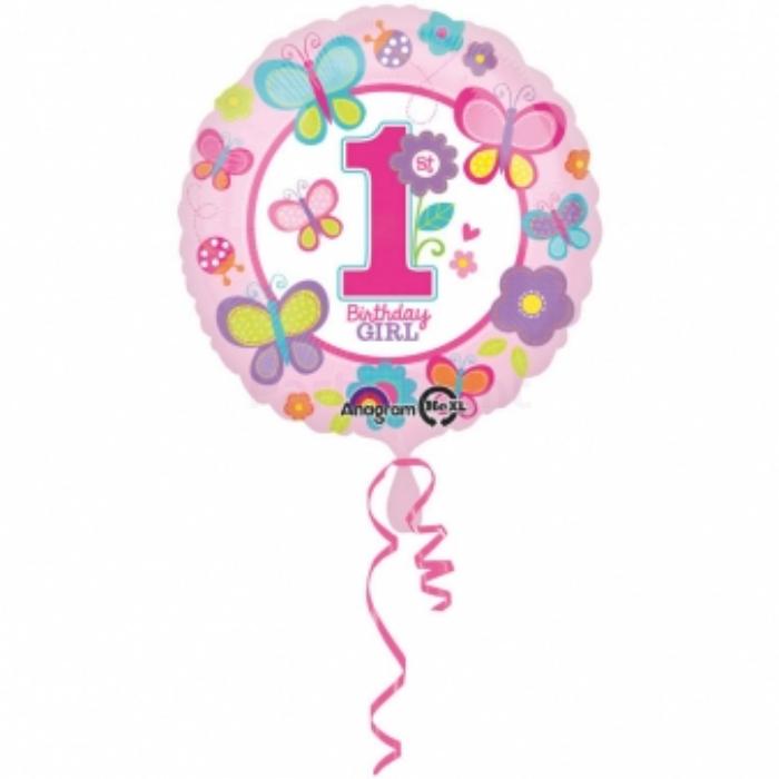 45 cm-es 1st Birthday Girl-pillangós pink első születésnapra fólia lufi