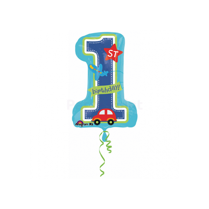 SuperShape -1st Birthday 1 -es szám fólia lufi