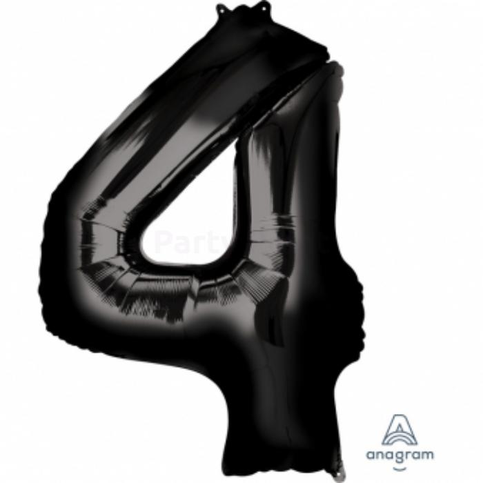 SuperShape - fekete 4-es szám fólia lufi