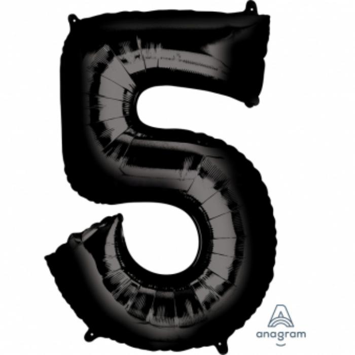 83 cm-es fekete 5-ös szám fólia lufi