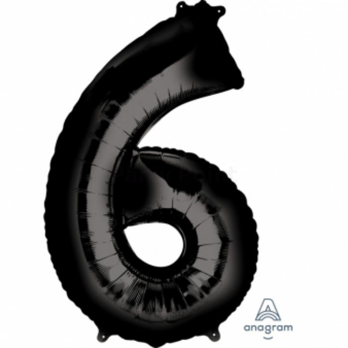 SuperShape - fekete 6-os szám fólia lufi