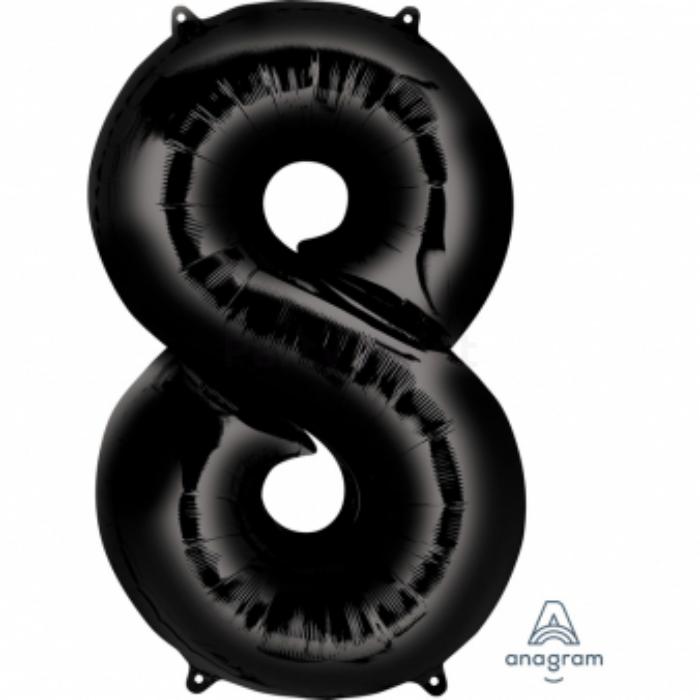 SuperShape - fekete 8-as szám fólia lufi