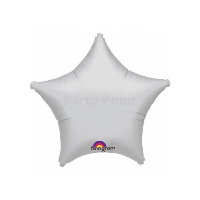 45 cm-es csillag alakú, ezüst színű fólia lufi