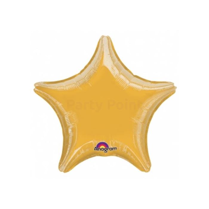 48 cm-es arany színű csillag alakú fólia lufi