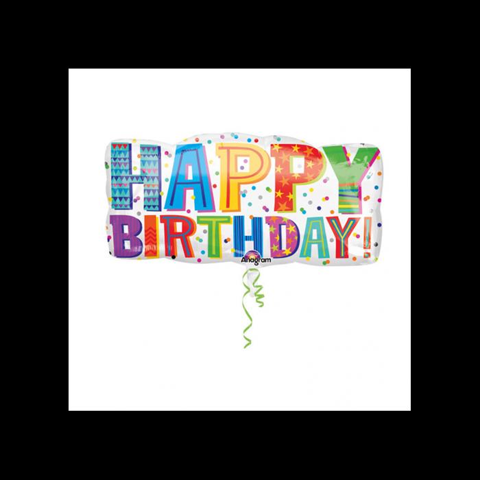 SuperShape - Happy Birthday téglalap alakú fólia lufi