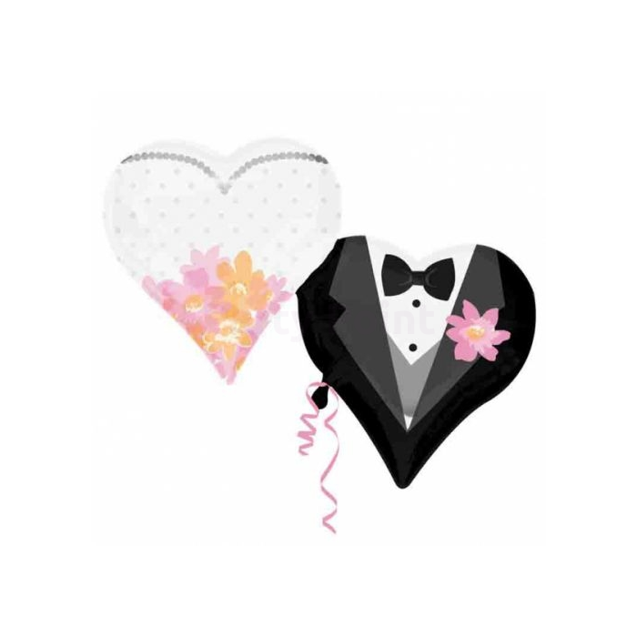 SuperShape -esküvői pár, dupla szív,fólia lufi, 76x63 cm