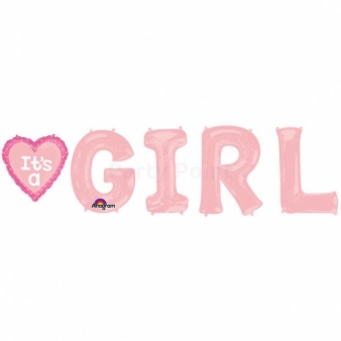 SuperShape - It's a girl pink fólia lufi