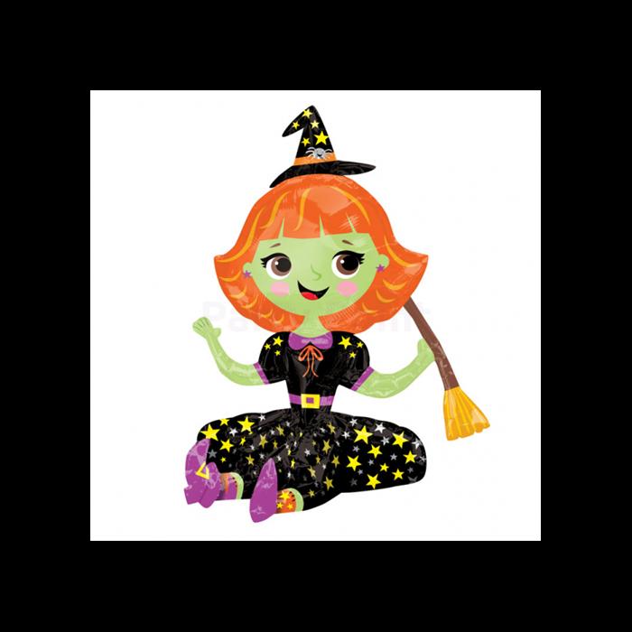 Multi Balloon-Ülő kis boszorkány fólia lufi