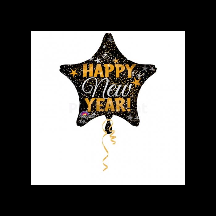 45 cm-es arany-ezüst színű konfettis Happy New Year csillag alakú fólia lufi