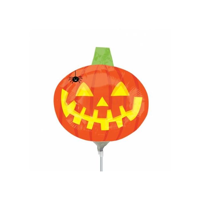Halloween - Mini - Tök pókkal fólia lufi