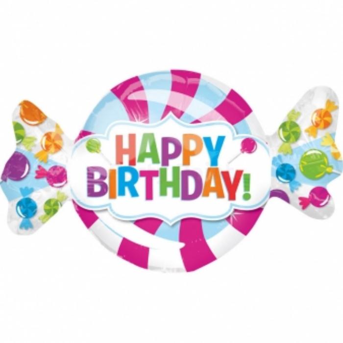 SuperShape -Happy Birthday cukorka fólia lufi, 101x60 cm