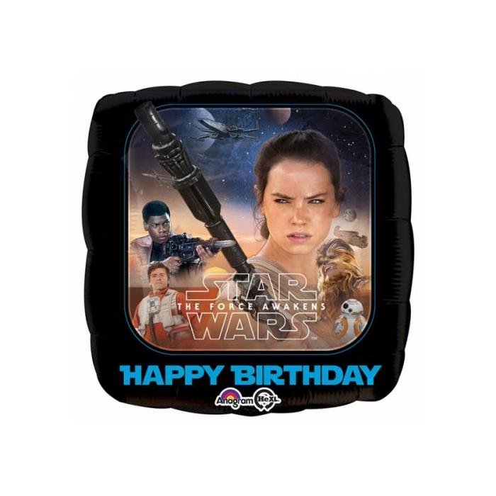 45 cm-es Star Wars Az ébredő erő Happy Birthday fólia lufi