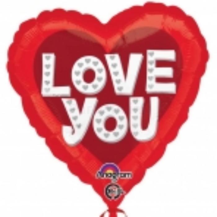 45 cm-es Love You piros szív alakú fólia lufi