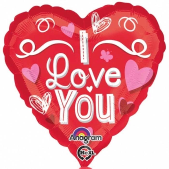45 cm-es I Love You piros indás szív alakú fólia lufi