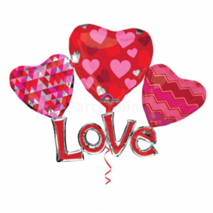 Jumbo - Love felirat három szívvel fólia lufi