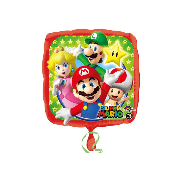 45 cm-es Super Mario négyzet alakú fólia lufi