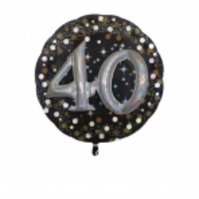 Multi -Balloon Happy Birthday 40. arany -ezüst  prizmás fólia lufi, 81 cm -es