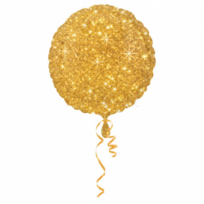 45 cm-es arany színű, csillogó kerek fólia lufi