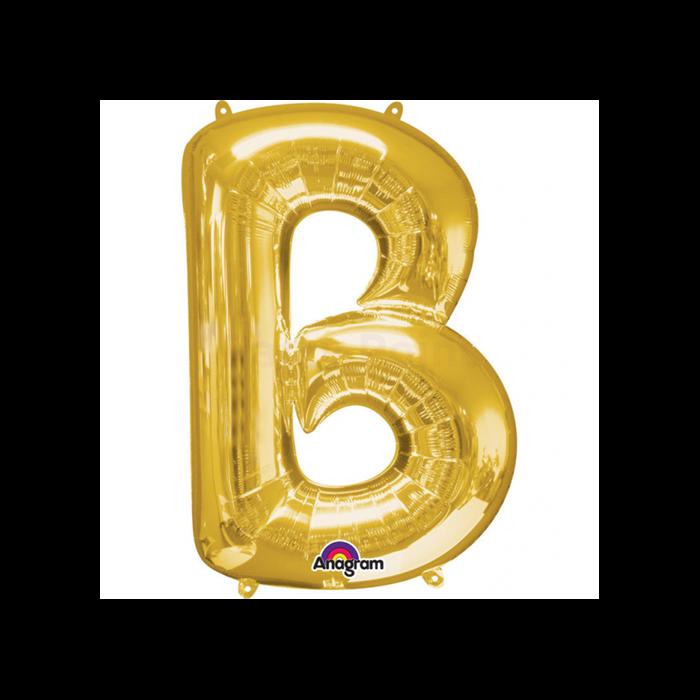 86 cm-es arany színű B betű fólia lufi