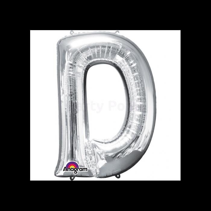 SuperShape - ezüst színű D betű fólia lufi