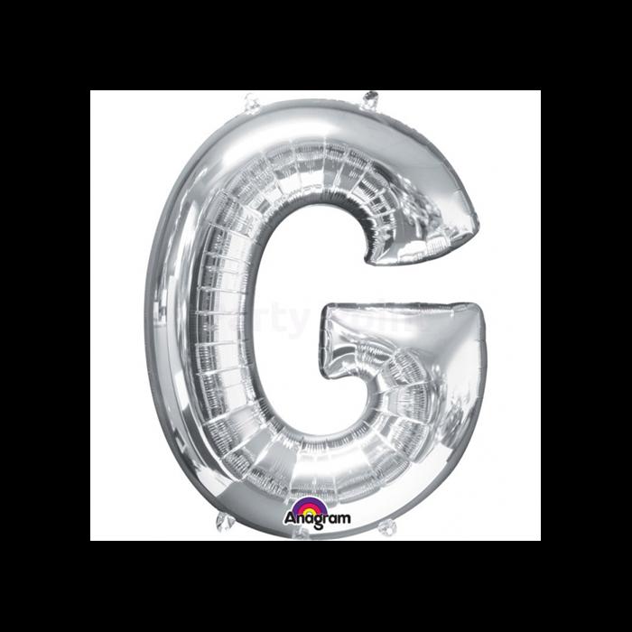 81 cm-es ezüst színű G betű fólia lufi