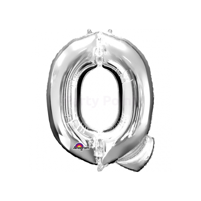 81 cm-es ezüst színű Q betű fólia lufi