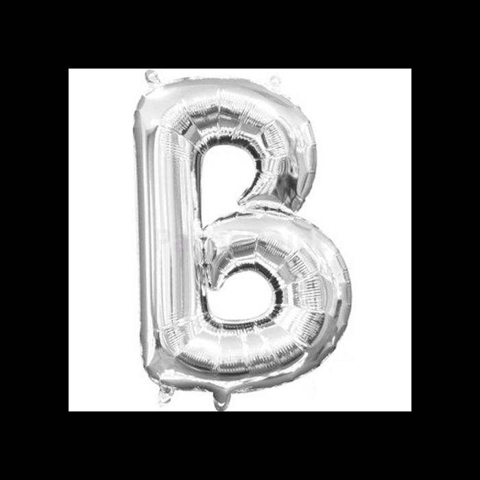 33 cm-es ezüst színű B betű fólia lufi
