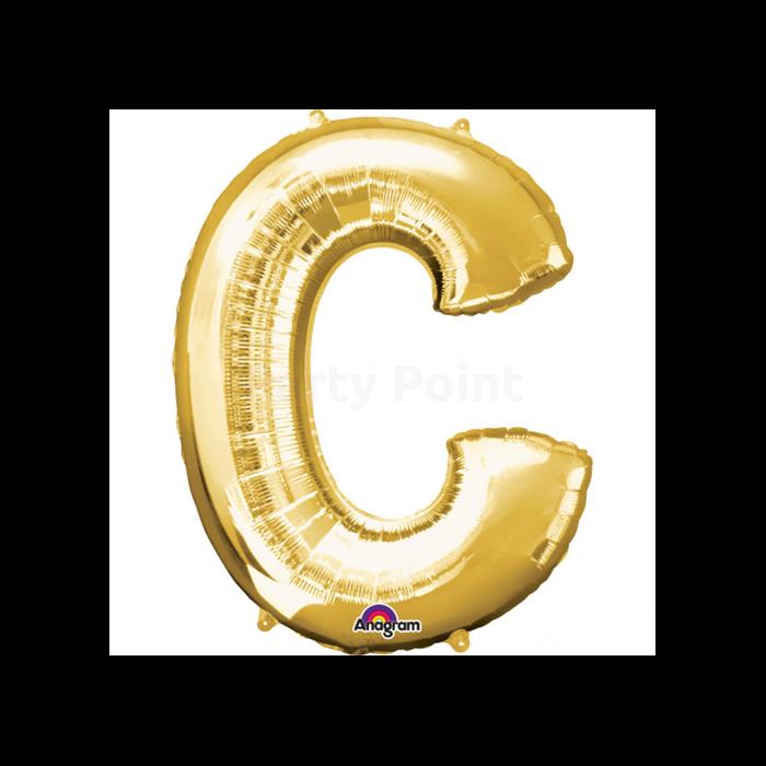 33 cm-es arany színű C betű fólia lufi