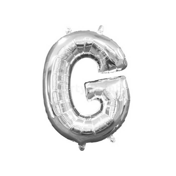 33 cm-es ezüst színű G betű fólia lufi