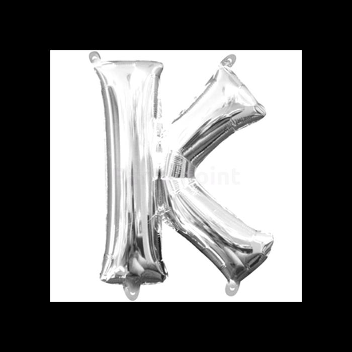 33 cm-es ezüst színű K betű fólia lufi
