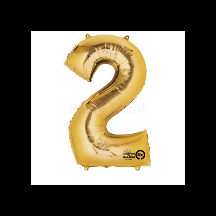 33 cm-es arany színű 2-es szám fólia lufi