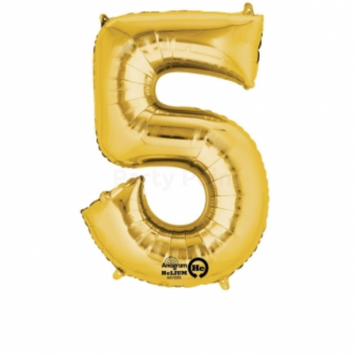 33 cm-es arany színű 5-ös szám fólia lufi