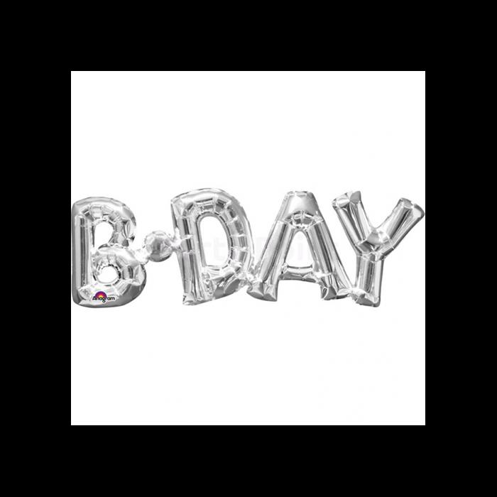 22 cm -es ezüst színű B -Day betű fólia lufi