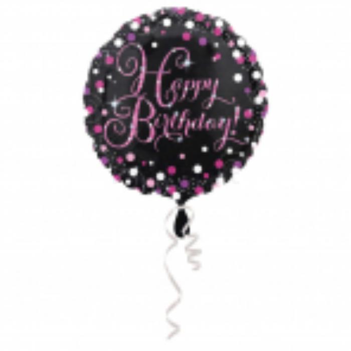 45 cm-es Happy Birthday pink-fekete fólia lufi