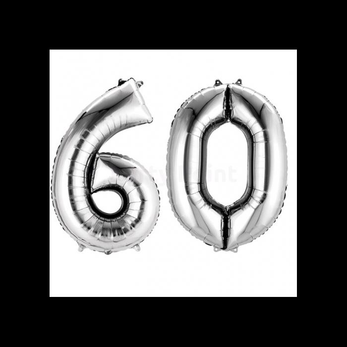 SuperShape - ezüst színű 60-as szám fólia lufi