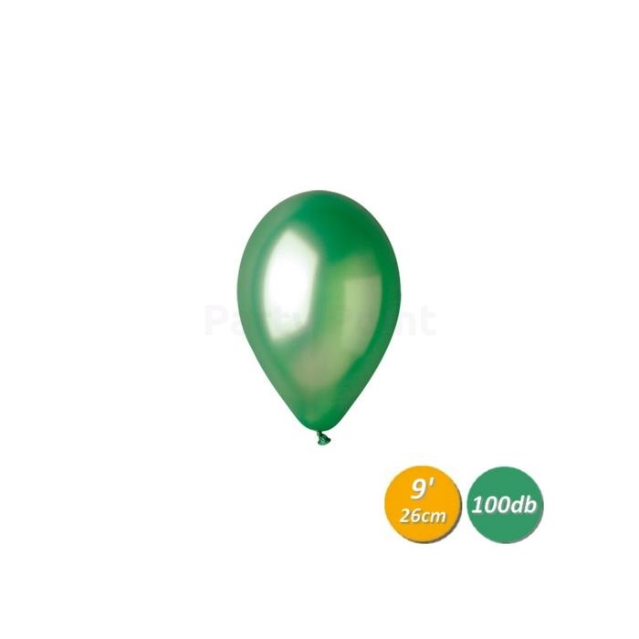 26 cm-es metál zöld gumi léggömb 100 db/cs.