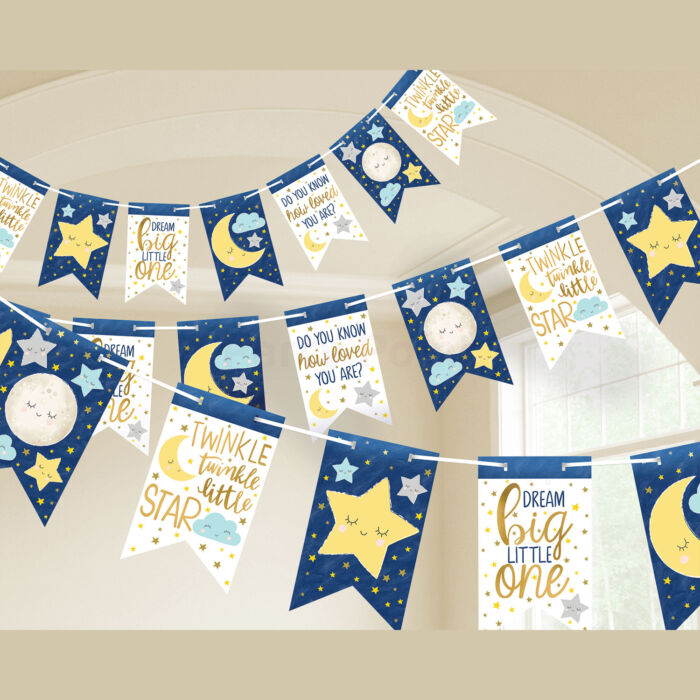 Twinkle Little Star- Ragyogj kiscsillag babaváró party papírfelirat 451cm