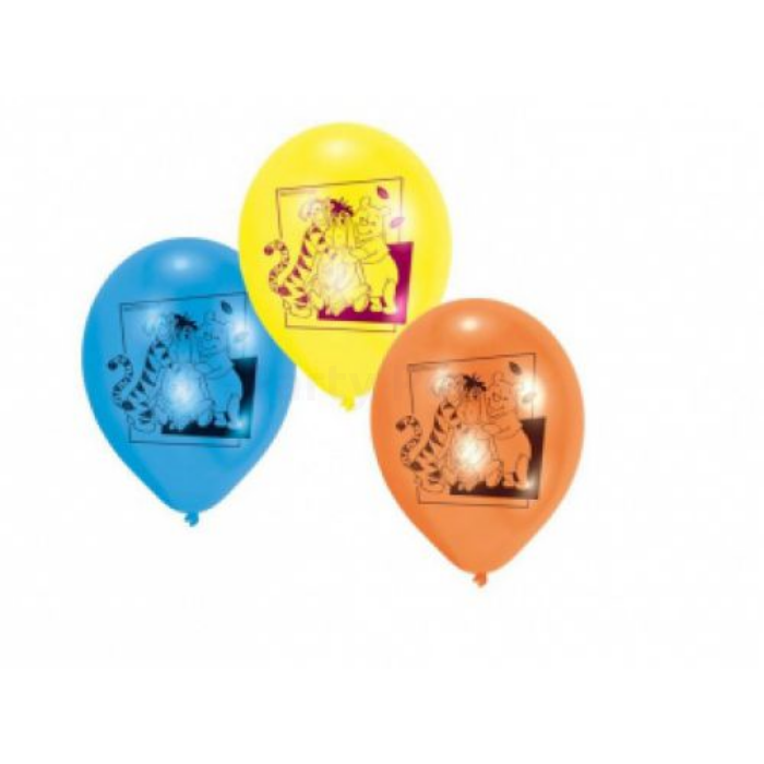 26 cm-es Micimackó barátaival Happy Birthday gumi léggömb 6 db/cs.