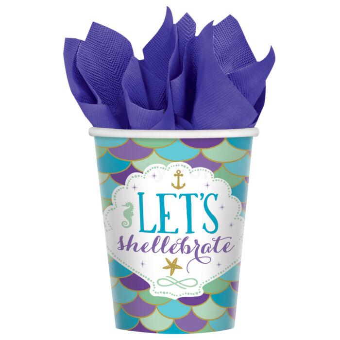 Mermaid Wishes - Let's Shellebrate hableány papír pohár 266 ml-es 8db/cs