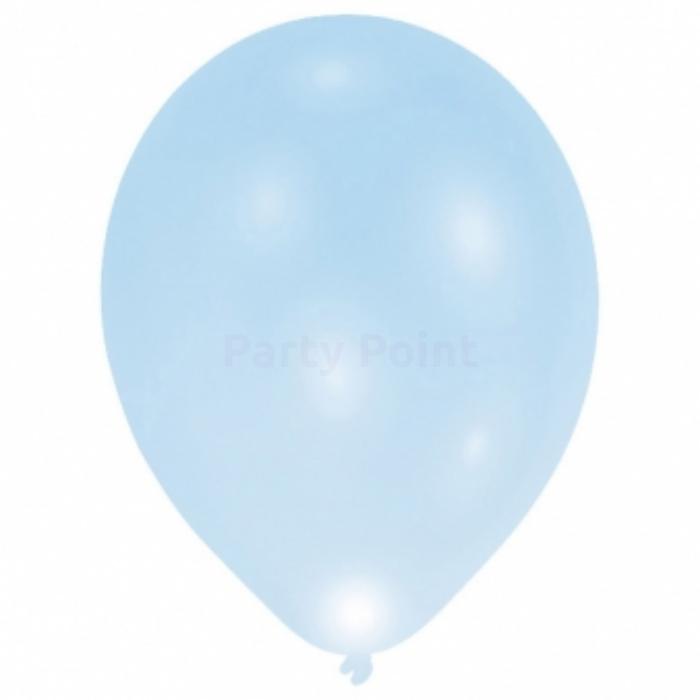 28 cm-es LED-es kék gumi léggömb 5 db/cs.