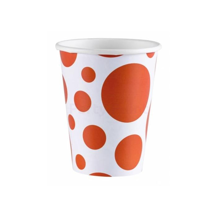 Narancssárga pöttyös papírpohár, 266 ml - 8 db