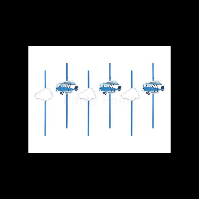 Kék repülős szívószál, 24 cm - 6 db