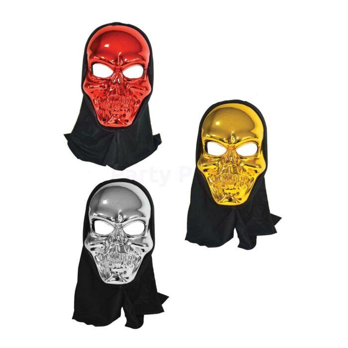 Halloween - Metál fényű koponya maszk 3 színben