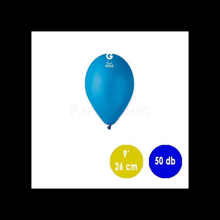 26 cm-es középkék gumi léggömb 50 db/cs